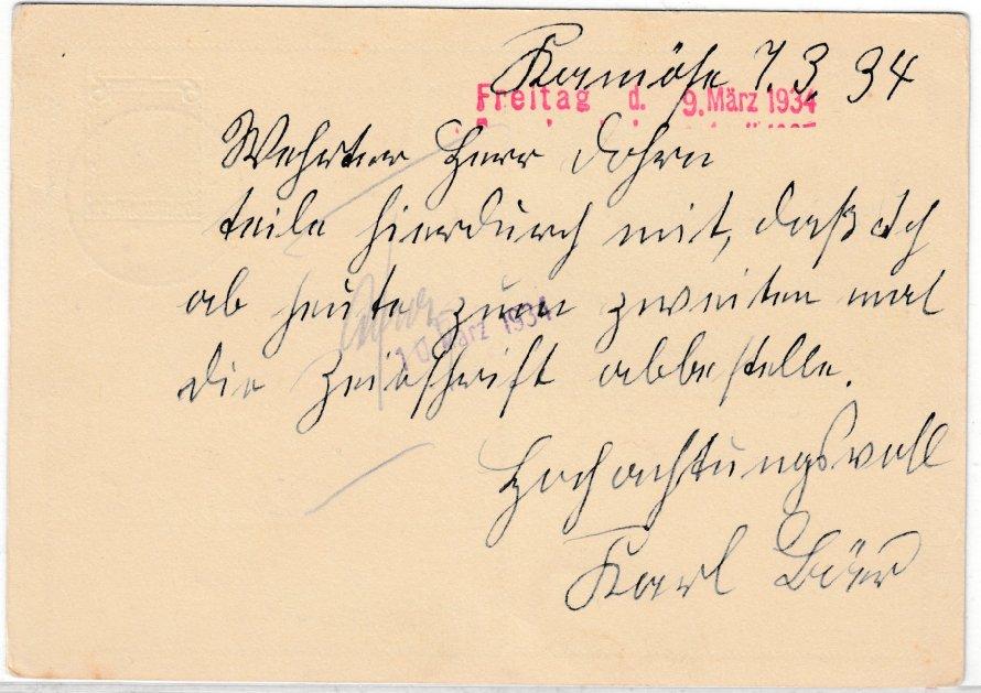 DR - 6 Pfg. Wagner-Festspiele Bayreuth, Sonder-GA-Karte, Maltsch - Leipzig 1934 1