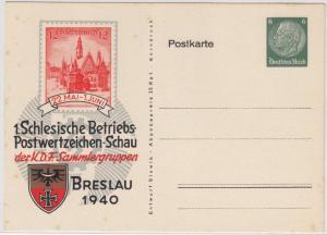 DR - 1. Schlesische Betriebs-Postwertzeichenschau Breslau 1940, Privat-GA-Karte