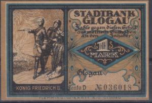 Schlesien - Glogau Stadtbank, Notgeldschein 1 Mark