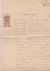 Schlesien - Liegnitz 1909, 20 M. Stempelmarke a. zweiseitiger Schuldurkunde