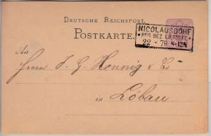 DR - Nicolausdorf Reg.Bez. Liegnitz 1879, Ra3 a. 5 PfgE GA-Karte n. Löbau