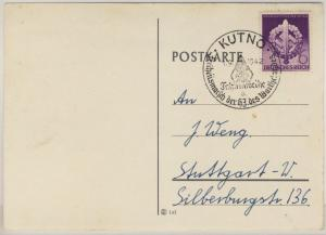 DR - Kutno Fahnenweihe 1942, seltener SST a. Karte n. Stuttgart - ohne Text