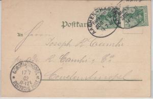 DR - Aachen-Hagen, Zug 411, Bahnpost, Karte i.d. TÜRKEI, M.Galdbach 1902 n.
