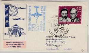 DDR - 40 Pfg. KZ-Opfer, Brief/Messe-Sonderflug n. ÖSTERREICH, SST Leipzig 1962