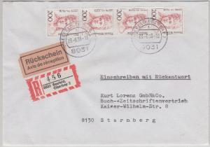 BRD - 200 Pfg. Frauen 4er-Str. Einschreiben-Rückschein Seefeld - Starnberg 1993