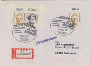 BRD - 2x140+170 Pfg. Frauen Bogenecken/Oberränder Einschreibebrief SST Zwickau