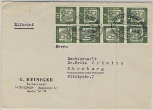 BRD - Bahnpost München-Frankfurt(Main) Zug 257 Eilbrief München - Nürnberg 1961