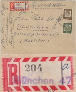 BRD - 80+10 Pfg. Bed. Deutsche Ortsbrief Einschreiben 2.Gew.st. München 47 1964
