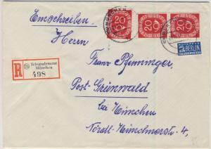 BRD - 3x20 Pfg. Posthorn, Einschreibebrief Telegraphenamt München -Grünwald 1953