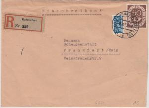 BRD - 60 Pfg. Posthorn, Einschreibebrief Katzenfurt - Frankfurt a.M. 1953