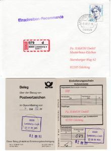 BRD - 450 Pfg. Frauen, Einschreibebrief Landsberg (Lech) - Gilching 1993
