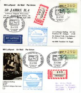BRD - 290 + 360 Pfg. ATM, Einschreibebrief/-karte n. ANTIGUA, SST Krefeld 1988