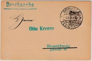DR - Görlitz Flugtage 1924, SST a. Drucksachenkarte (Borek) n. Braunschweig