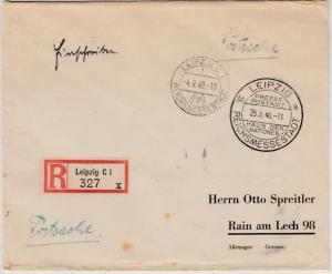 DR - Leipzig 1940, Messe-SST, Einschreibebrief/Postsache n. Rain a. Lech