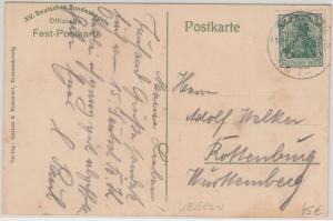 DR - Braunschweig 1912 15. Deutsches Bundeskegeln SST Sonderkarte n. Rottenburg