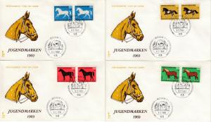 BRD - Jugend 1969 (Pferde), Paare a. Schmuck-FDC + ESST Bonn