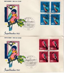 BRD - Jugend 1963 (Vögel), 4er-Blöcke a. Schmuck-FDC + ESST Bonn