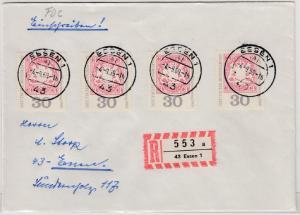 BRD - 4x30 Pfg. Bundes- u. Philatelistentag, Einschreibebrief/FDC Essen 1969