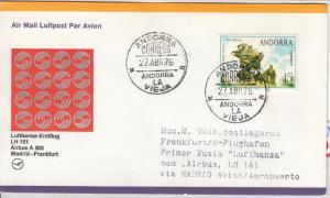 Andorra (span.) - 15 Pta 100 Jahre UPU Zuleitung LupoBrief Madrid Frankfurt 1976