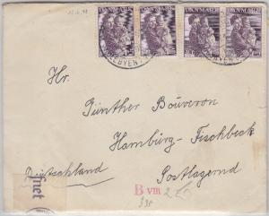 Dänemark - 4x10 Ö. Kinderhilde Zensurbrief Tarm Hamburg/postlagernd 1941 Inhalt