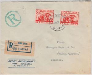 Bulgarien - 2x8 L. Eilmarke Einschreibebrief i.d. SCHWEIZ Sofia - Wohlen 1939
