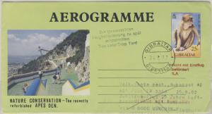 Gibraltar - Zuleitungspost Lufthansa Jub.-Flug München - Bukarest GA Aerogramme