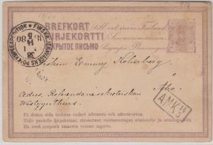 Finnland - 10 P. Ganzsache Helsingfors - Abo 1880 - Bahnpost-Stempel