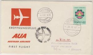 Island - AUA Österreich Zuleitungspost 1st-Flug Wien - Sofia ü. Kopenhagen 1967