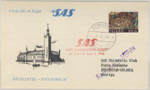 Island - SAS Erstflug Reykjiavik - Stockholm Luftpostkarte 1968