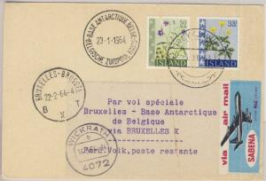 Island - 3,50 Kr. + 50 A. Blumen, Lupo-Karte, Reykjavik - Brüssel - Base