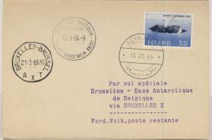 Island - 3,50 Kr. Surtsey (Vulkan), Karte Reykjavik - Brüssel - Base Roi