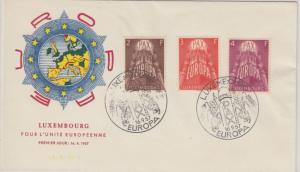 Luxemburg - Europa Ausgabe 1957 Satz Schmuck-FDC 16.9.57