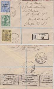 Malta - 2 1/2 a. 3 P. u.a. Einschreibebrief ins SUDETENLAND Valletta 1.12.38 n.