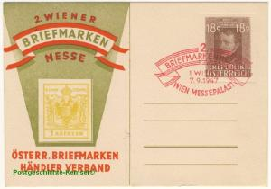 Österreich - 2. Wiener Briefmarkenmesse Privatganzsache SST 1947 Wien ungelaufen