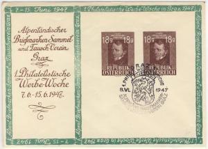 Österreich - 1. Philat. Werbewoche Privat-GA-Umschlag (2x18 Gr.) SST Graz 1947