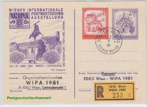 Österreich - WIPA 1981 Sonderganzsache Sonder-R-Zettel SST Wien Hofburg