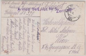 Österreich - Armee-Telf.-Abt. Nr. 5, L1 a. Feldpostkarte FpA 320 - Wien