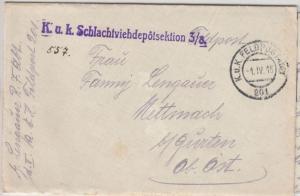 Österreich - KuK Schlachtviehdepotsektion, L1 a. Feldpostbrief n. Mettnach 1916