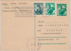 Österreich - 70g Trachten Ganzsache + Zusatz Wien - Krefeld 1952 österr. Zensur