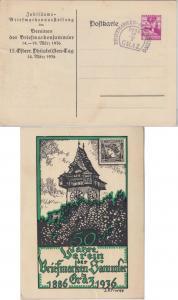 Österreich - Graz 1936 Privatganzsache 50 J. Verein d. Briefmarkensammler + SST