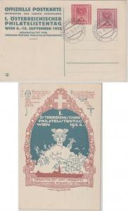 Österreich  - 1. Philatelistentag 1922 50+10 K. Privatganzsache SST Wien