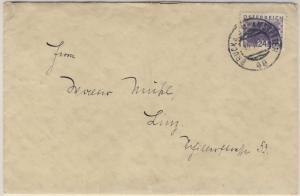 Österreich - Bahnpost Bruck a.d. Mur - Amstetten Brief n. Linz  1934