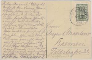 Österreich - 12 1/2 Kr. Freimarke, AK(Leermoos) Bahnpost Reutte - Innsbruck 1922
