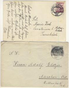 Österreich - Lindau-Innsbruck/Salzburg-Innsbruck, Bahnpoststempel a. Karte/Brief
