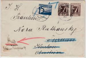 Österreich - 15 Gr. Portomarke, Brief Bahnpost Unzmarkt - Mauterndorf 316, 1925