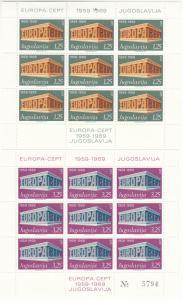 Jugoslawien - Europa/Cept 1969, 1. Auflage, 2 postfr. Kleinbögen, MNH