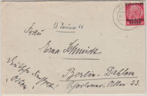Dt.Bes.Polen - 24 Gr. a. 12 Pfg. Hindenburg Brief Zomoc - Berlin 1940