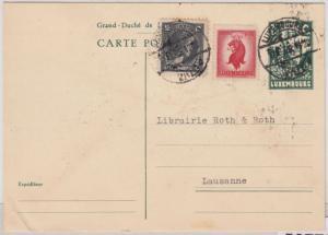 Luxemburg - 75 C. Schloß GA-Karte+Zusatz i.d. SCHWEIZ Luxembourg - Lausanne 1946
