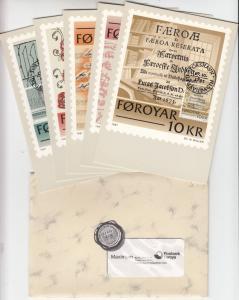 Färöer - Historische Schriften 1981, Satz a. Maximum-Karten i. Umschlag