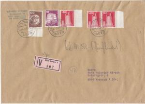 BRD - 3x140 Pfg. I&T u.a., Wertbrief Langen - Kronach 1985